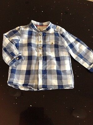 Boys Blue And White Checked Cotton / Linen Shirt 12-18 Months