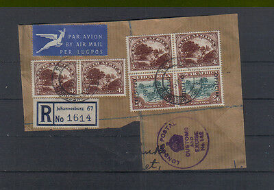 South Africa 1950-54 2/6d overprinted Official horizontal pair used on piece