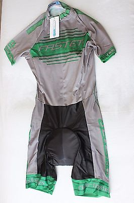 New Vie13 Men's Cycling Skin Suit Short Sleeve Padded Bike Coolmax Gray XL