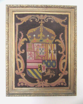 Antique Petit Point Needle Point European Armorial Coat Of Arms Family Crest