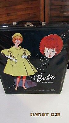 VINTAGE 1963 BARBIE BLACK VINYL Barbie DOLL CASE TRUNK with clothes