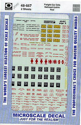 Microscale Decals - 48-667 Freight Car Data, Gothic Red - O Scale
