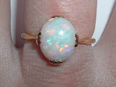 Antique 18ct Gold Solitaire Opal Ring Free Resizing