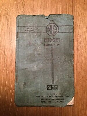 MG Midget MG TD Original Operation Manual