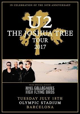 U2 Joshua Tree Tour: Barcelona Olympic Stadium - July 2017 PHOTO Print POSTER 24