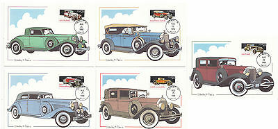 United States 1988 5 x Classic Cars  Maxi Cards