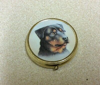 Rottweiler Dog Polished Metal Pill Box Gift