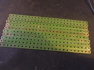 Meccano 10 Green 12.5 inch Perforated Strips No 1