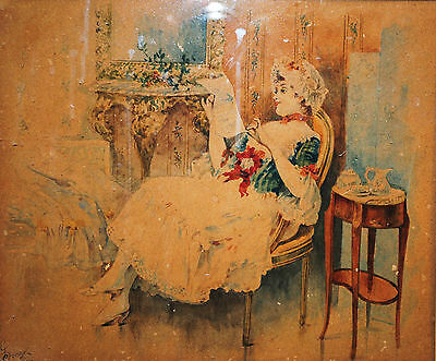 Charles Donzel (France 1824-1889) 19th Century Antique Watercolor