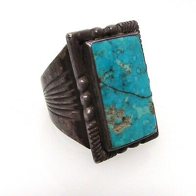 Native American Old Pawn Navajo Turquoise Sterling Silver Ring_Antique_Not Scrap