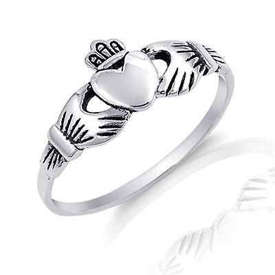 Heart Claddagh Celtic Irish Ring - Genuine Sterling Silver - Clearance Price