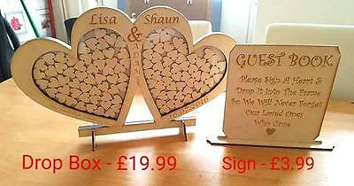 **** Flash Sale - Double Heart Wedding Drop Box + Guest Sign Only £17.99 **** -