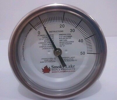 "Maple syrup thermometer, 5"" dial, 6"" stem, 0-50, pan mounted, 1/4"" NPT, boiling"