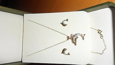 9ct gold dolphin necklace and earrings set - both with diamonds - NEW