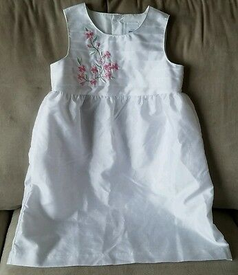 Girls Size 5T, White, Formal Dress With Embroidered Pink Flower Accent