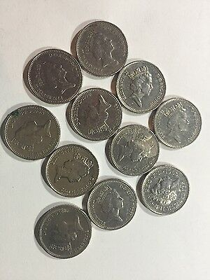 Collectable lot 12 x 5P FIVE PENCE COIN 1990,1991,1992,1996,1999 rare coins