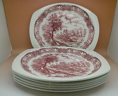 6 Vintage W.h.grindley  Countrystyle Oval Dinner Plates  Hand Engraved Retro Wow
