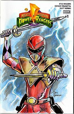Original Hand Drawn Sketch Cover RED POWER RANGER by Dan Gorman