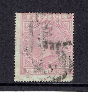 GB Q.Victoria 1874, SG127 Plate 2, 5 Shilling Pale Rose. Used.
