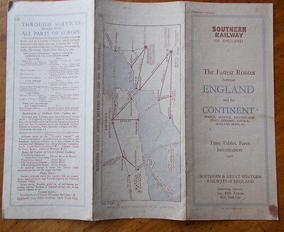 SR of England Official Publication Fastest Routes England & the Continent 1930