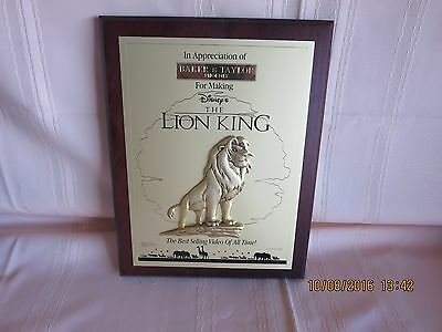 Disney LION KING Appreciation Award the Best Selling Title Of All Time  MUST SEE