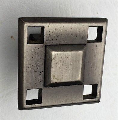 Pewter Antique Hardware MCM Drawer Pull Vintage Square Cabinet Knob Art Deco