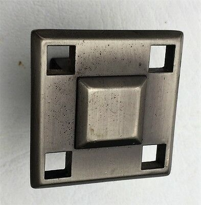 Satin Nickel Antique Hardware MCM Drawer Pull Vintage Cabinet Knob Art Deco