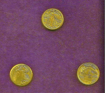 3 x Mini-Gold Coins : 2 x St. Gauldens & Standing Liberty Very cute collectables