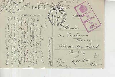 Ww1 1918 British Forces In France Apo S15 Censored Postcard To England