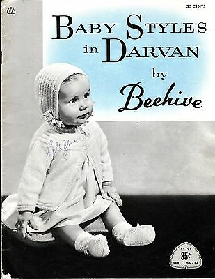 Vintage Baby Styles Beehive Knit Layettes Quaker Harebell Popcorn PATTERN NB-12M