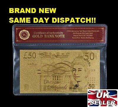 24K Gold Plated £50 Fifty Pound Note + Coa + Case Brand New