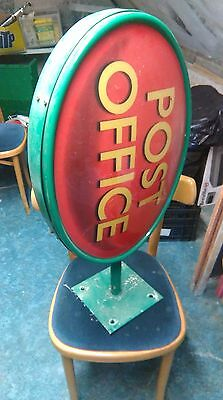Vintage Double Sided Oval POST OFFICE Wall Mount Exterior Sign.