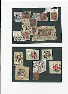 Trade Price Stamps Early Great Britain Stamps & Cancels On Pieces