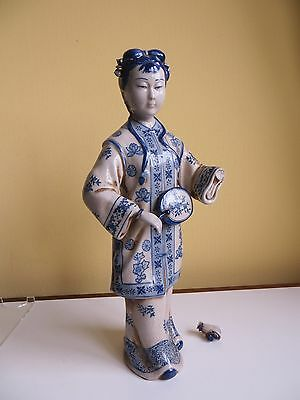 Large Chinese Porcelain Blue & White Chinawoman Figure with Fan /Mirror? Damaged