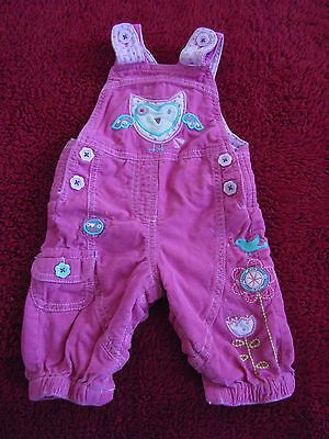 Beautiful Baby Girl lined cotton Dungarees Trousers 0-3 months