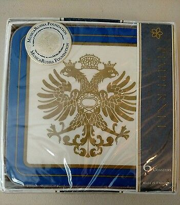 Russian Imperial Eagle Coasters by PIMPERNEL Set of 6 Blue & Gold New in Box