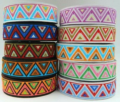 1m Embroidered Ribbon/Trim Aztec/Tribal 25mm width Various colours available
