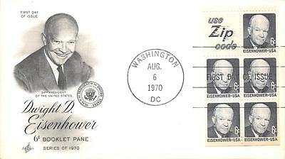 1393b 6c Dwight D. Eisenhower Booklet Pane, First Day Cover Cachet [Q160969]
