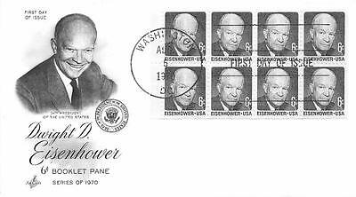 1393a 6c Dwight D. Eisenhower Booklet Pane, First Day Cover Cachet [Q160939]