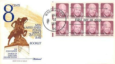 1395a 8c Dwight D. Eisenhower Booklet Pane, First Day Cover Cachet [Q161106]