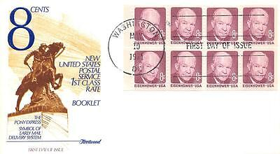 1395a 8c Dwight D. Eisenhower Booklet Pane, First Day Cover Cachet [Q161107]
