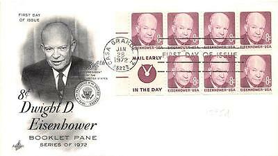 1395d 8c Dwight D. Eisenhower Booklet Pane, First Day Cover Cachet [Q161197]