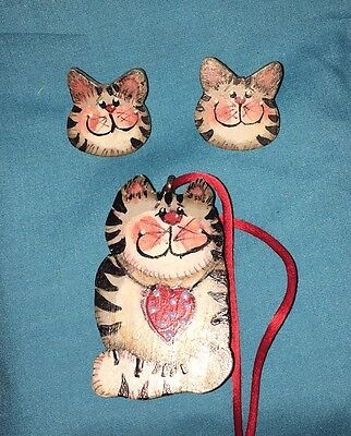 Handmade Hand Painted Country Cat Necklace & Earrings Wood