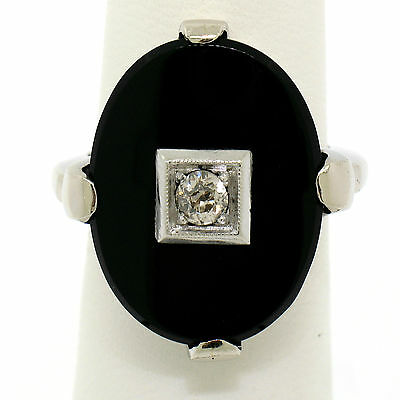 Antique 14K White Gold Black Onyx 0.17ct Diamond Large Bold Cocktail Ring Sz 5.5