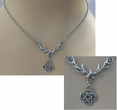 Silver Celtic Knot Stag Antlers Pendant Necklace Jewelry Handmade NEW Fashion