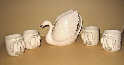Fitz & Floyd Swan Teapot With 4 Double Handled Coffee Cup Mugs Rare