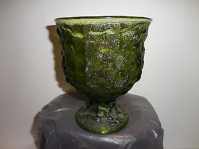 Brody Co. Goblet Candy Dish Vase Green Glass Mid Century Cleveland USA Marked