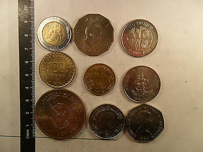 Lot Of 9 Coins Mixed Countries // World Wide Coins (Some In Bu Condition) *