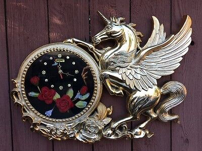 "Vintage 70's IMPERIAL ""Flying Unicorn"" W/Rosses LARGE Plastic Wall Clock Novelty"