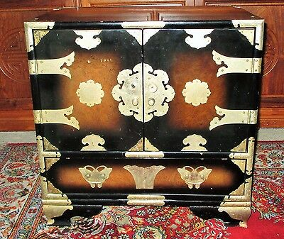 Vintage Chinese Burl Wood End Table Brass Mounts Safe Jewelry Box Ornate Stand!